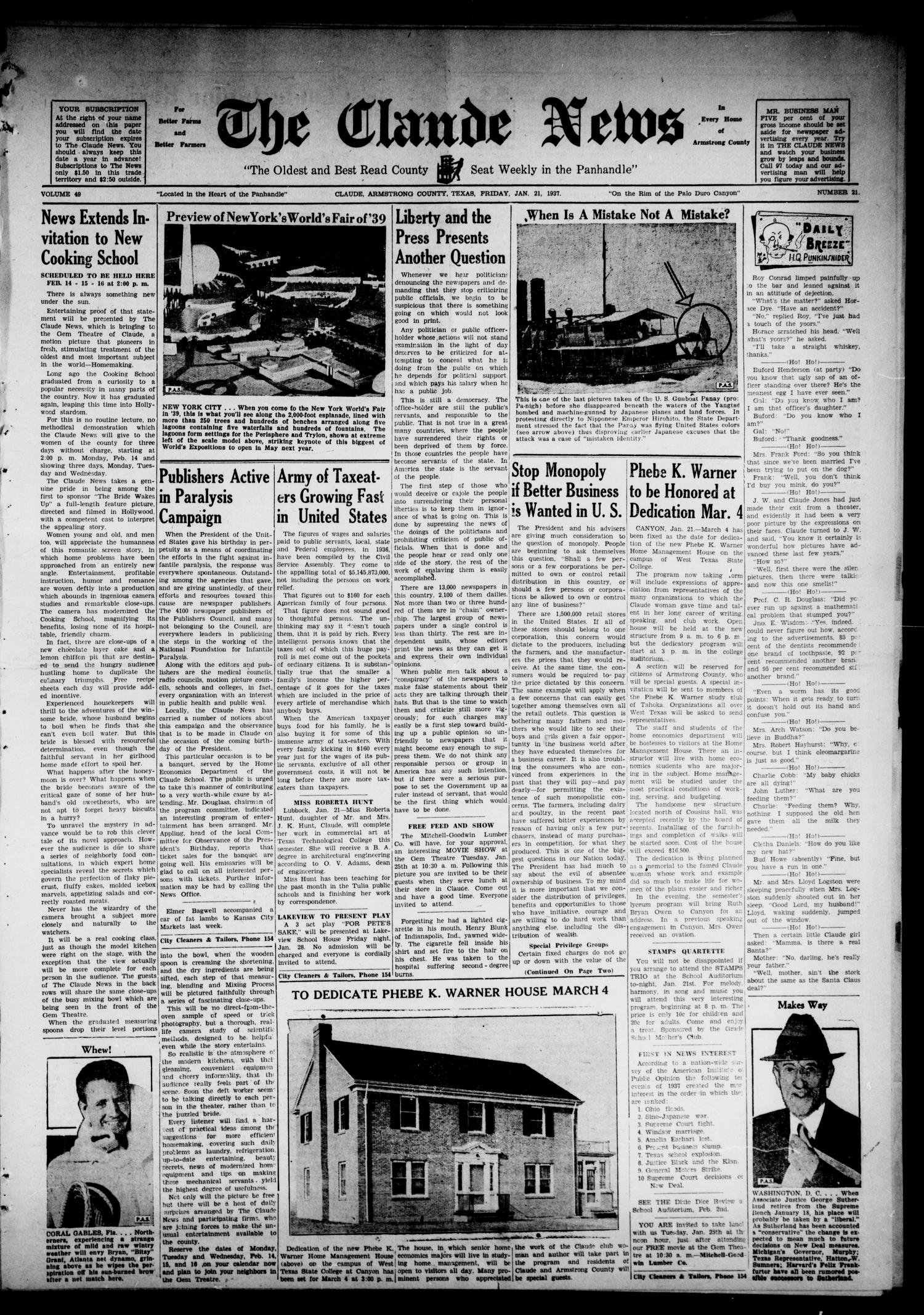 The Claude News (Claude, Tex.), Vol. 49, No. 21, Ed. 1 Friday, January 21, 1938                                                                                                      [Sequence #]: 1 of 4