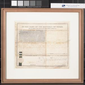 Primary view of object titled 'Republic of Texas Land Grant Certificate'.