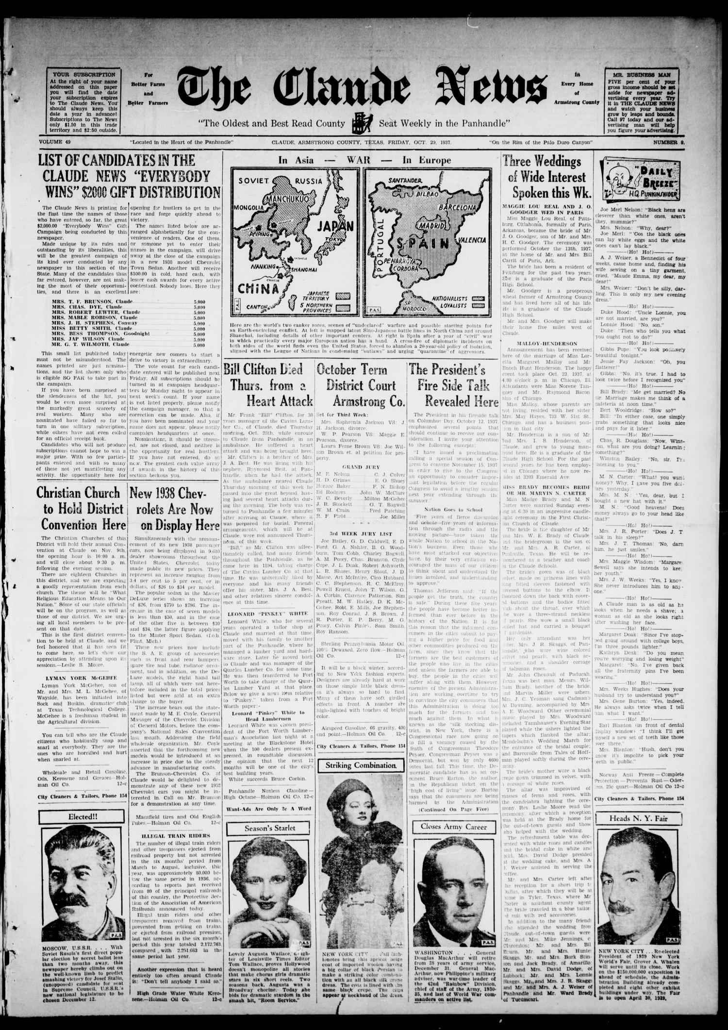The Claude News (Claude, Tex.), Vol. 49, No. 9, Ed. 1 Friday, October 29, 1937                                                                                                      [Sequence #]: 1 of 6