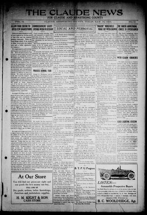 Primary view of object titled 'The Claude News (Claude, Tex.), Vol. 14, No. 35, Ed. 1 Friday, May 19, 1916'.