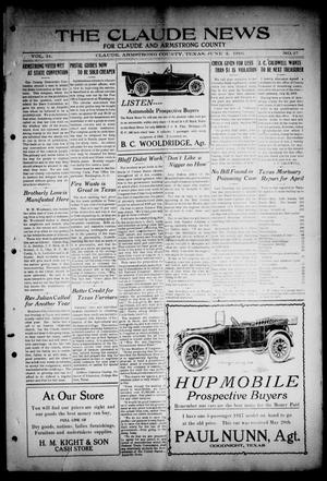 Primary view of object titled 'The Claude News (Claude, Tex.), Vol. 14, No. 37, Ed. 1 Friday, June 2, 1916'.