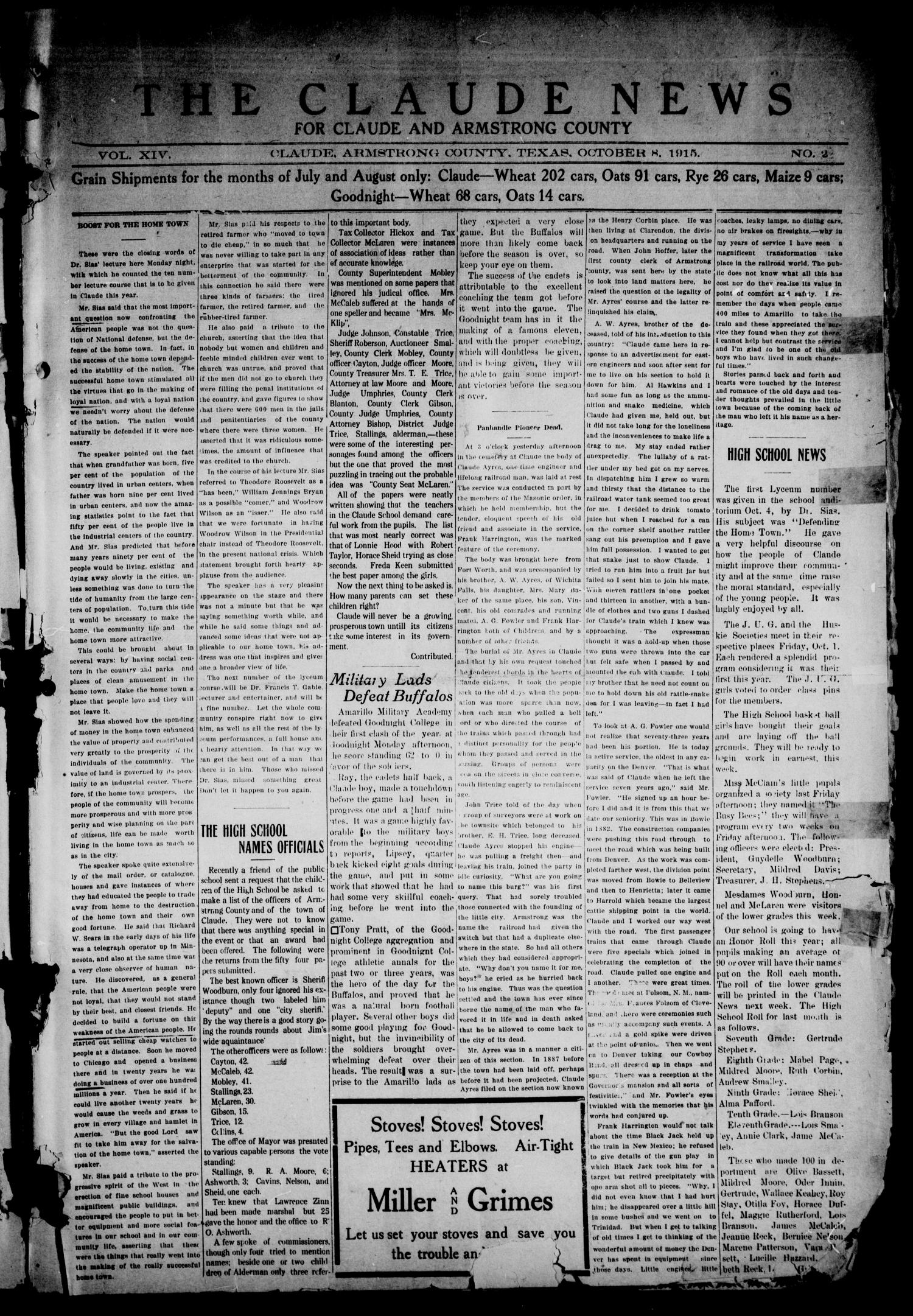 The Claude News (Claude, Tex.), Vol. 14, No. 2, Ed. 1 Friday, October 8, 1915                                                                                                      [Sequence #]: 1 of 6