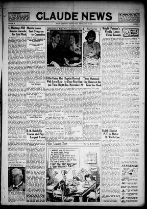 Primary view of object titled 'Claude News (Claude, Tex.), Vol. 48, No. 13, Ed. 1 Friday, November 27, 1936'.