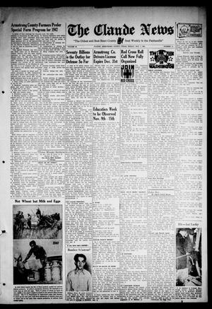 Primary view of object titled 'Claude News (Claude, Tex.), Vol. 53, No. 11, Ed. 1 Friday, November 7, 1941'.