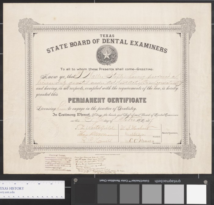 Texas State Board of Dental Examiners Certificate - The