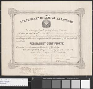 Primary view of object titled 'Texas State Board of Dental Examiners Certificate'.
