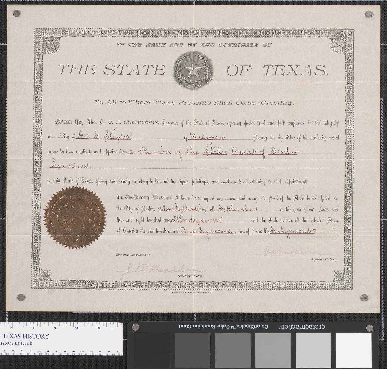 Membership Certificate Texas State Board Of Dental Examiners The
