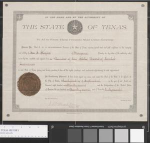 Primary view of object titled 'Membership Certificate - Texas State Board of Dental Examiners'.