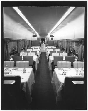 "Primary view of object titled '[""Texas Zephyr"" dining car]'."