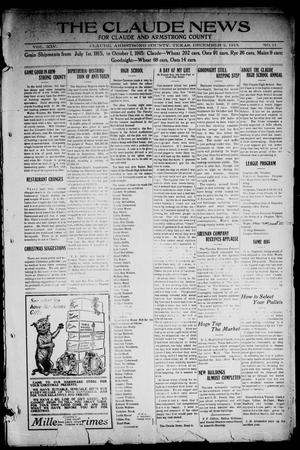 Primary view of object titled 'The Claude News (Claude, Tex.), Vol. 14, No. 11, Ed. 1 Friday, December 3, 1915'.