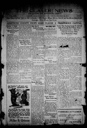 Primary view of object titled 'The Claude News (Claude, Tex.), Vol. 14, No. 5, Ed. 1 Friday, October 22, 1915'.