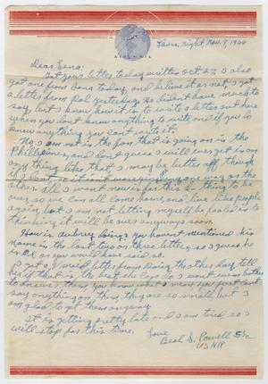 Primary view of object titled '[Letter from Beal S. Powell to Lena Lawson, November 9, 1944]'.