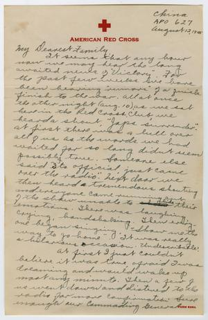 Primary view of object titled '[Letter from Corporal Park B. Fielder to his family, August 12, 1945]'.