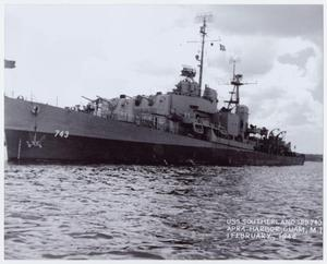 Primary view of object titled '[Photograph of USS Southerland]'.