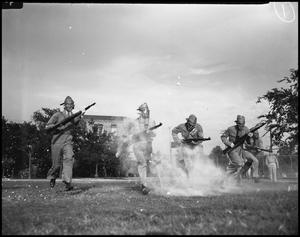 Primary view of object titled '[ROTC Cadets Being Gassed]'.