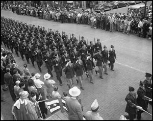 Primary view of object titled '[NTAC Cadets Marching]'.
