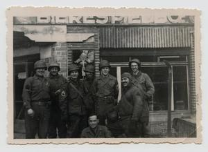 Primary view of object titled '[Soldiers Outside Building]'.