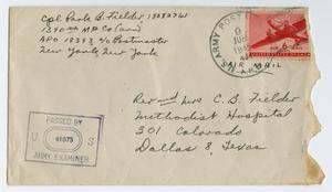 Primary view of object titled '[Envelope from Corporal Park B. Fielder, 1945]'.