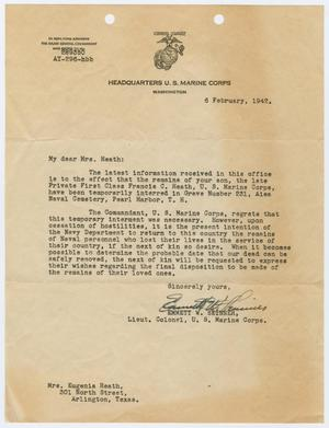 Primary view of object titled '[Letter from Lt. Col. Emmett W. Skinner to Eugenia Heath, February 6, 1942]'.