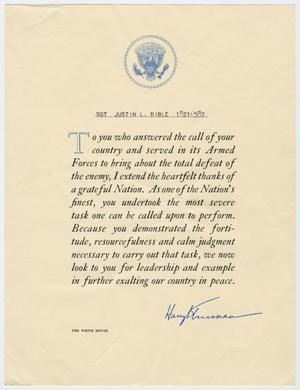 Primary view of object titled '[Letter from Harry Truman to Justin L. Bible]'.