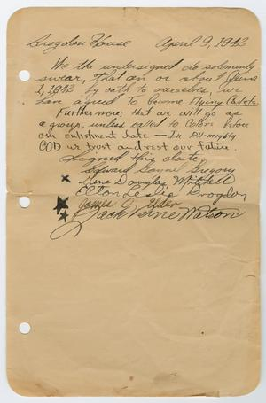 Primary view of object titled '[Flying Cadets' Oath]'.