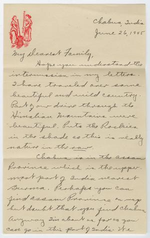 Primary view of object titled '[Letter from Corporal Park B. Fielder to his family, June 26, 1945]'.