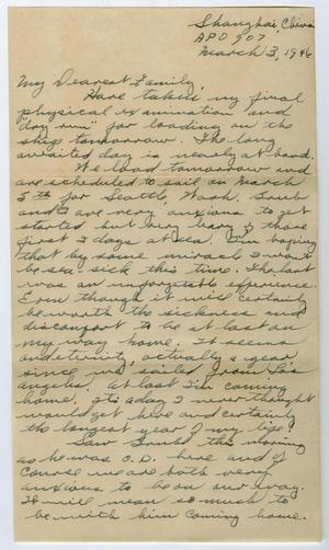 Primary view of object titled '[Letter from Corporal Park B. Fielder to his family, March 3, 1946]'.