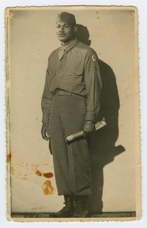 Primary view of object titled '[Postcard of Charlie Parker in Uniform]'.