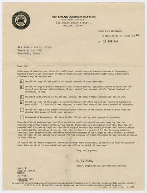 Primary view of object titled '[Letter from the Veterans Administration to Justin L. Bible]'.
