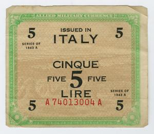 Primary view of object titled '[5 Italian Lire]'.