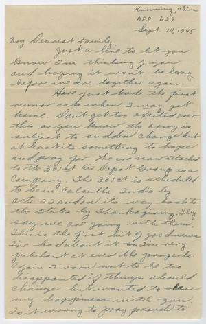 Primary view of object titled '[Letter from Corporal Park B. Fielder to his family, September 14, 1945]'.