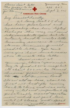 Primary view of object titled '[Letter from Corporal Park B. Fielder to his family, September 7, 1945]'.