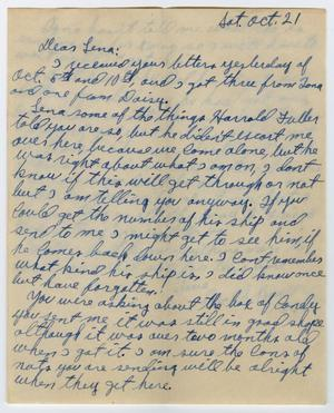 Primary view of object titled '[Letter from Beal S. Powell to Lena Lawson, October 21, 2944]'.