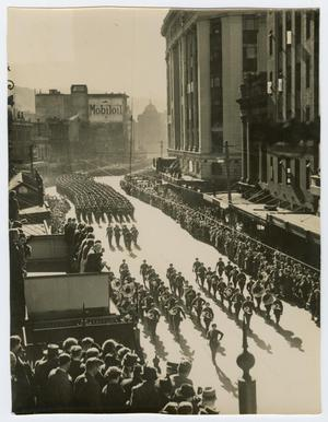 Primary view of object titled '[Photograph of Military Parade and Military Band]'.