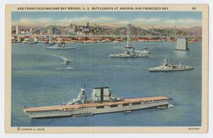Primary view of object titled '[Postcard of Navy Ships in San Francisco Bay]'.