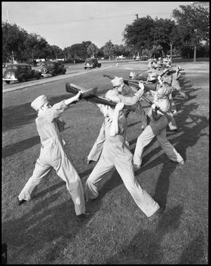 Primary view of object titled '[Students in Bayonet Practice]'.