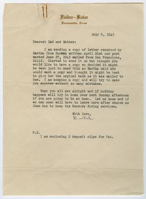 Primary view of object titled '[Letter from Corporal Park B. Fielder to his parents, July 9, 1945]'.
