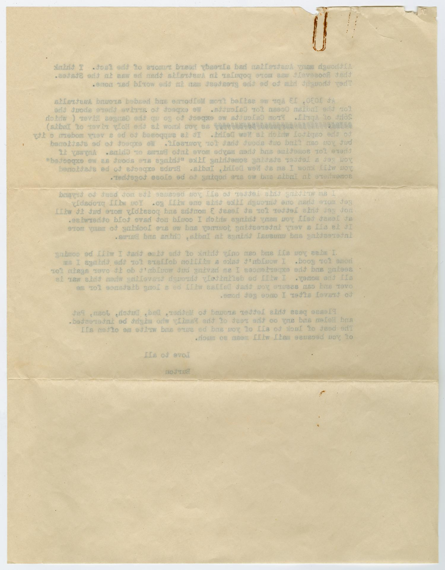 [Letter from Corporal Park B. Fielder to his family, April 21, 1945]                                                                                                      [Sequence #]: 4 of 4