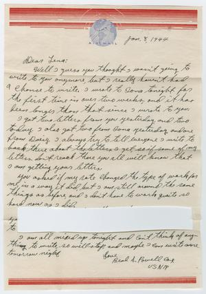 Primary view of object titled '[Letter from Beal S. Powell to Lena Lawson, January 8, 1944]'.