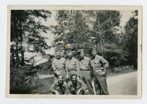 Primary view of object titled '[Photograph of Six Servicemen in Germany]'.