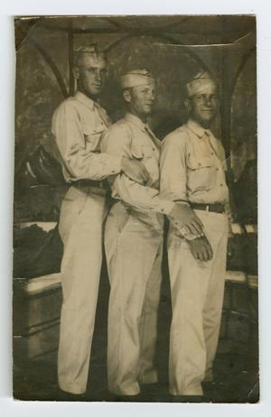 Primary view of object titled '[Photograph of Three Servicemen]'.