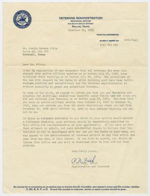 Primary view of object titled '[Veterans Administration Letter]'.