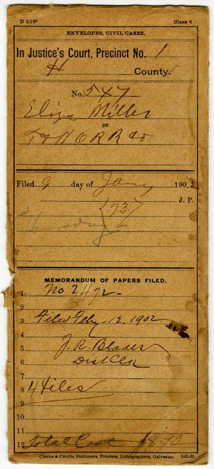 Primary view of object titled 'Documents pertaining to the case of Eliza Miller vs. Texas & New Orleans Railroad Company, cause no. 547, 1902'.