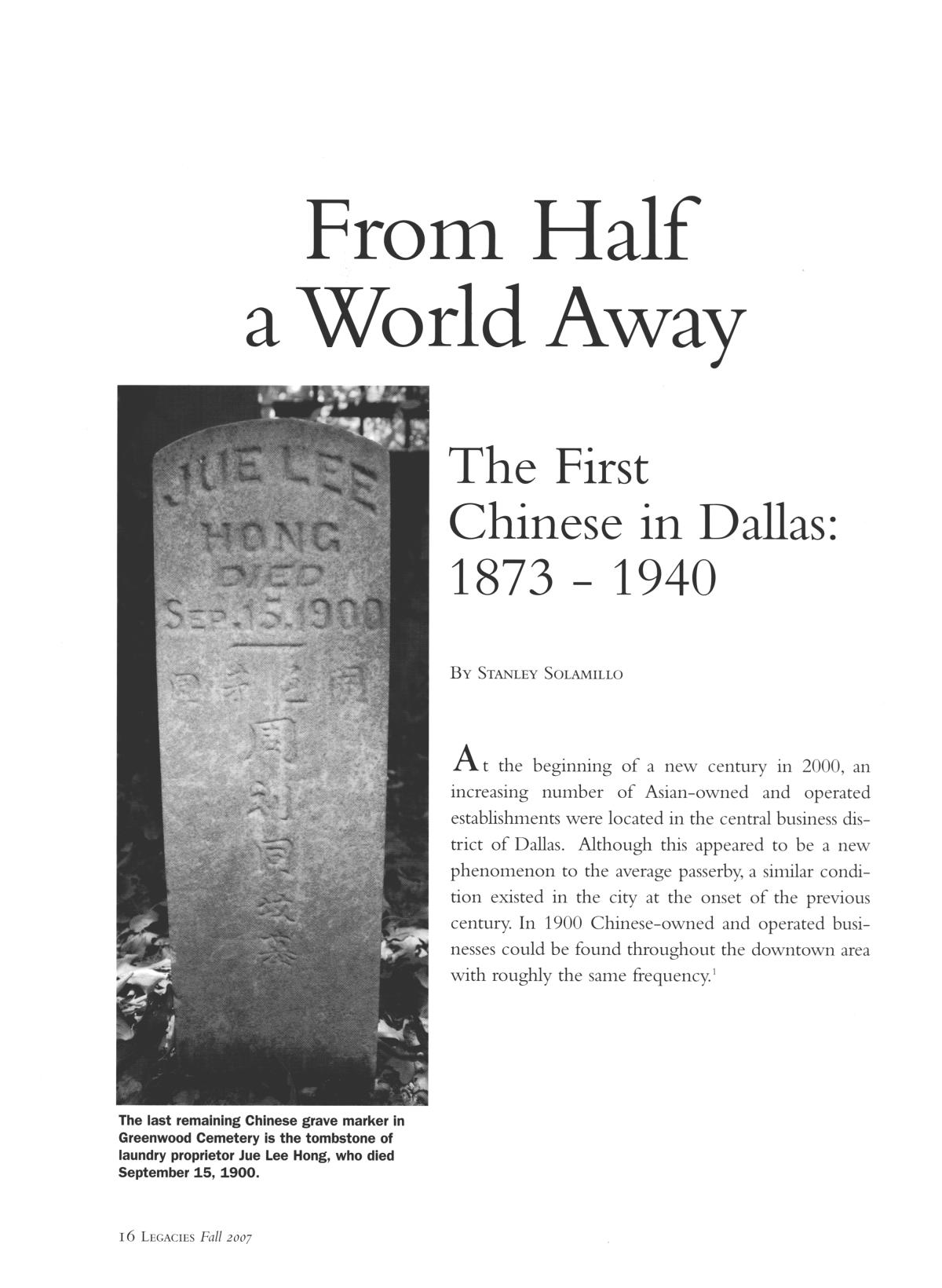 Legacies: A History Journal for Dallas and North Central Texas, Volume 19, Number 02, Fall, 2007                                                                                                      16