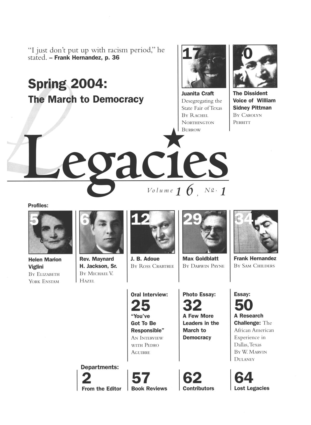 Legacies: A History Journal for Dallas and North Central Texas, Volume 16, Number 01, Spring, 2004                                                                                                      1