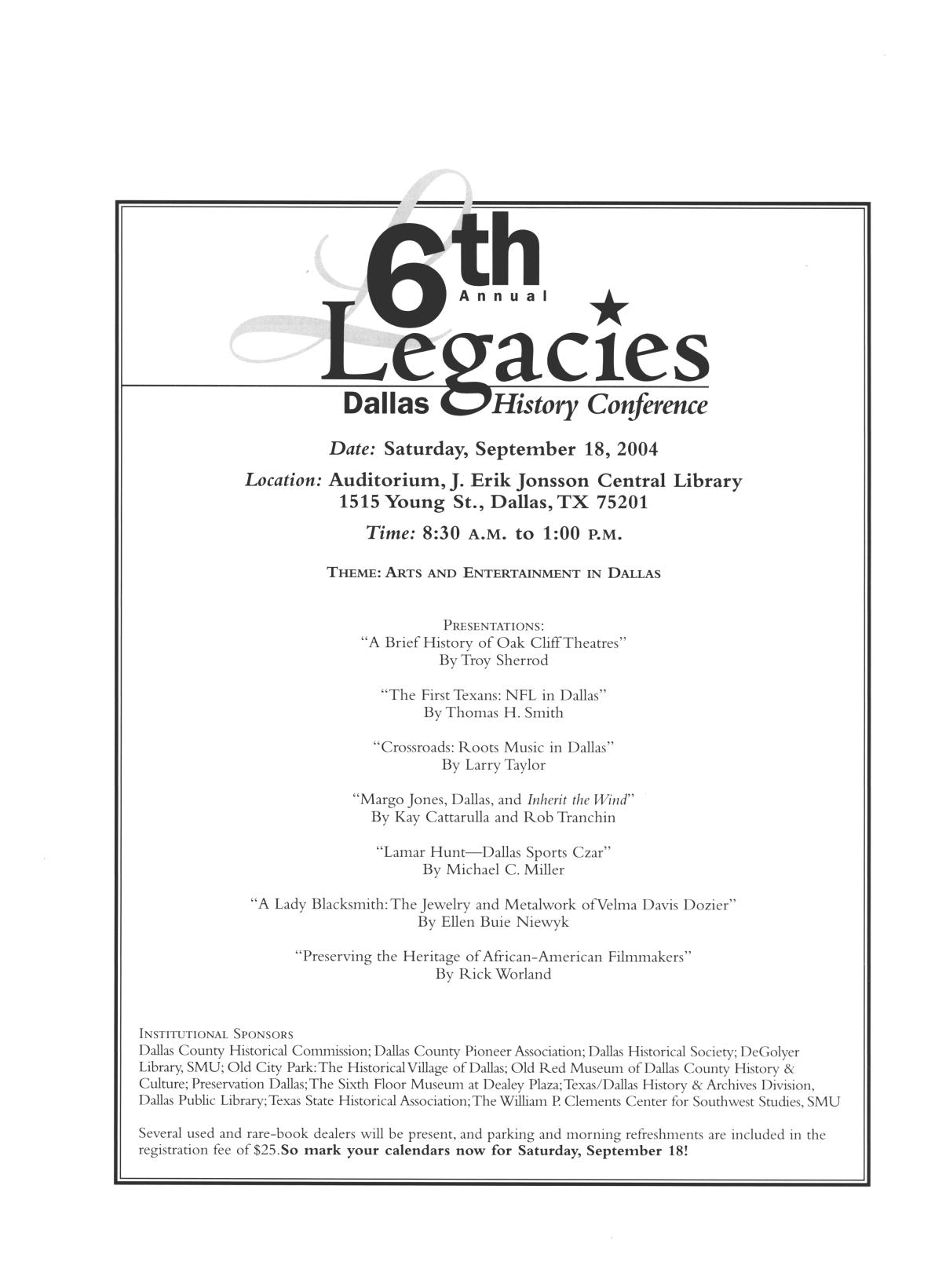 Legacies: A History Journal for Dallas and North Central Texas, Volume 16, Number 01, Spring, 2004                                                                                                      4