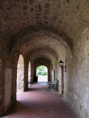 Primary view of object titled 'Arched walkway at Mission Concepción'.