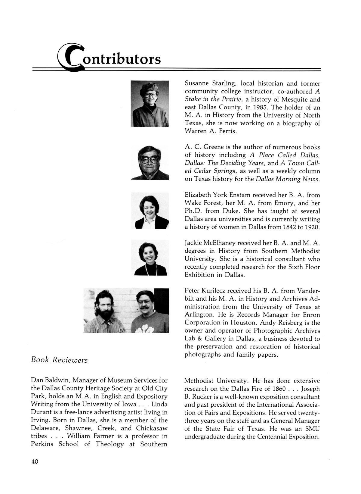Legacies: A History Journal for Dallas and North Central Texas, Volume 01, Number 01, Spring, 1989                                                                                                      40
