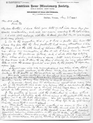 [Letter from C.I. Scofield to Judge David H. Scott, January 25, 1888]