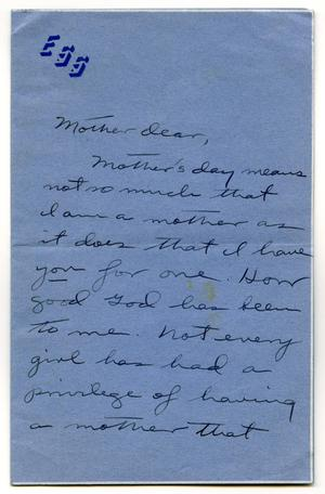 Primary view of object titled '[Letter from Betty Scrivner to her Mother]'.